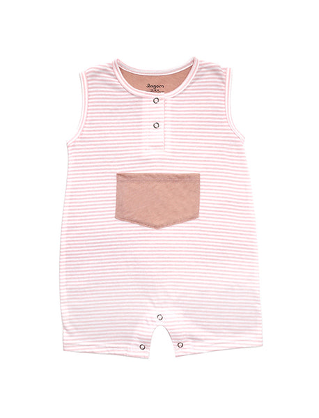 Stripy Pink Sleeveless Romper