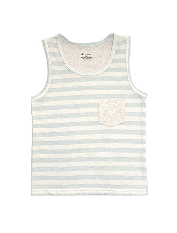 Stripy Blue and Beige Melange Singlet