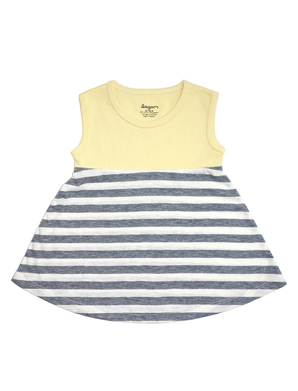 Stripy Grey and Yellow Sleeveless Baby-Doll Top