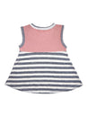 Stripy Grey and Coral Sleeveless Baby-Doll Top