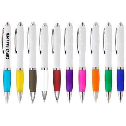 Full colour digital print Curva Ballpen. From 0.34p per pen - www.promopen.co.uk