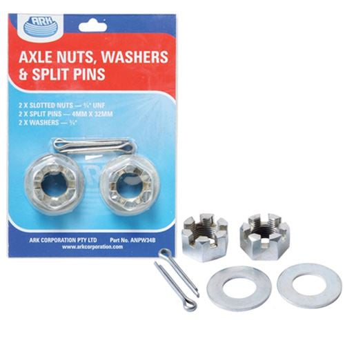 Ark axle nuts, washers and split pins