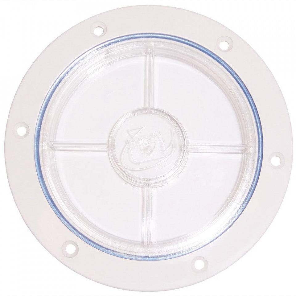 4 inch Inspection Port with Recessed Lid - Clear with Black or White Surround