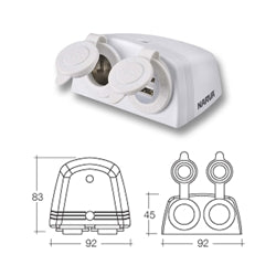 Dual Surface Mounted USB and 12/24volt Socket White