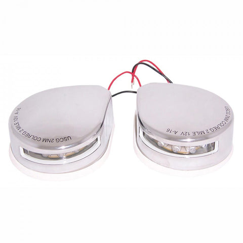 LED Bow Mount Port and Starboard Navigation Lights - Stainless Steel