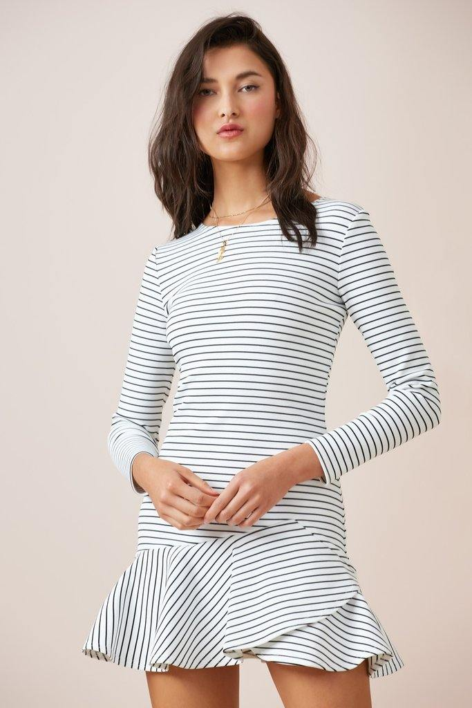 Sirocco Long Sleeve dress by Finders in black stripe