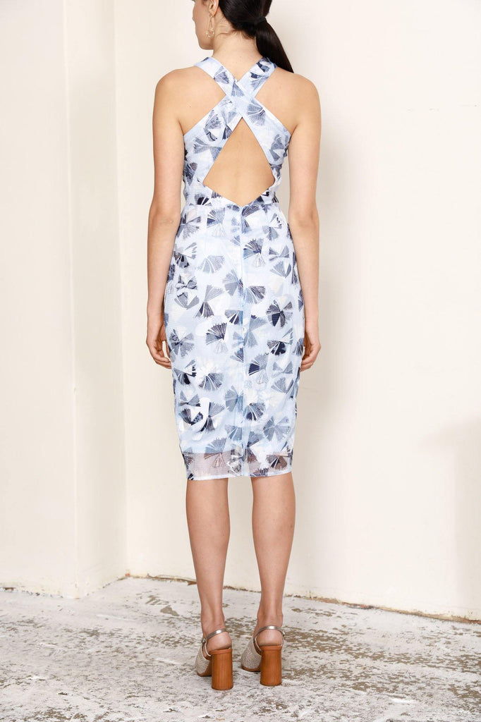 COMET MIDI DRESS IN BLUE FLORAL