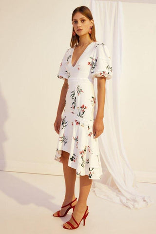 KATY WHITE EMBROIDERED SUMMER DRESS