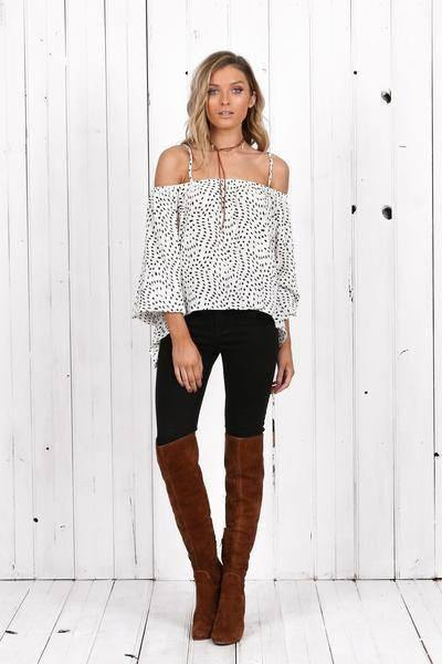 Tasmin  Cold Shoulder top in white