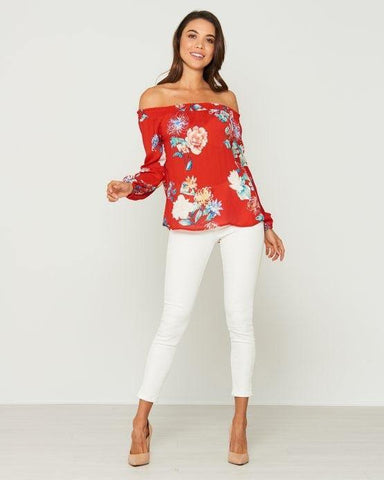 Cecile Long Sleeve Wrap Style Top In Watermelon
