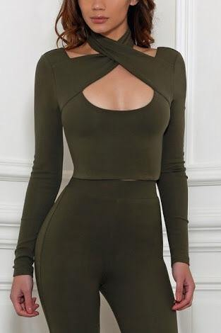 Balance top in khaki