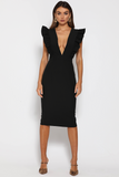 Frill Plunge Midi dress Black