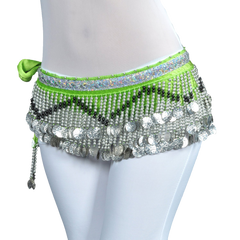 BellyLady Multi-Row Belly Dance Hip scarf Silver Coins Belly Dancing Skirt