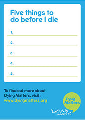 50 'Five things I want to do before I die' Postcards