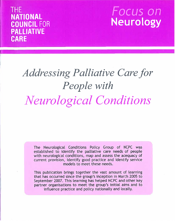focus on neurology addressing palliative care for people with