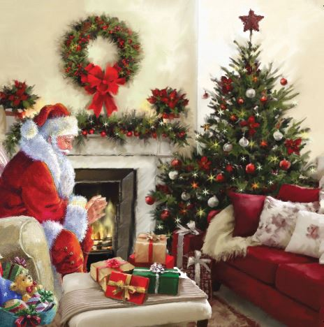 Santa By Fire Christmas Cards - Pack of 10