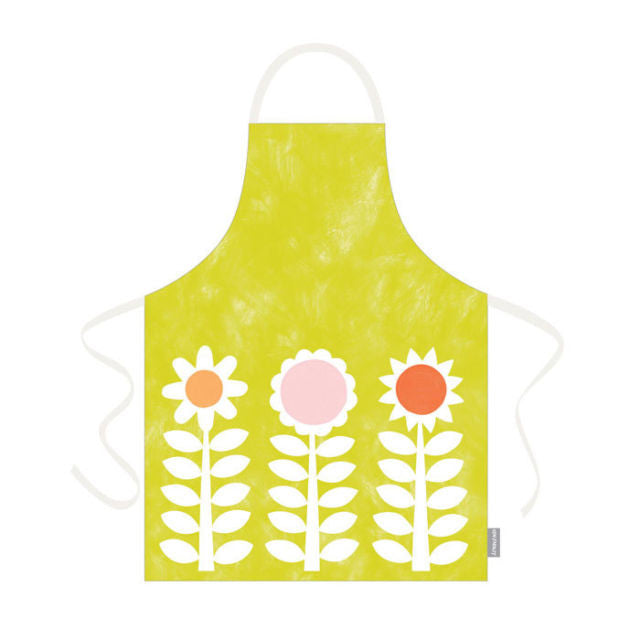 Ken Eardley Apron - New Flower Design - Lime