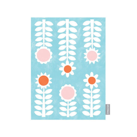 Ken Eardley Tea Towel - New Flower Design - Aqua