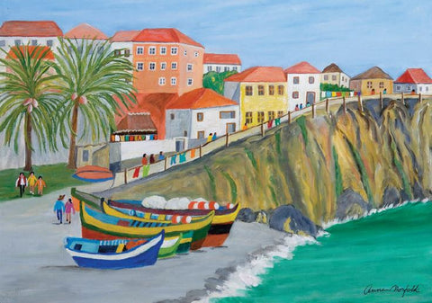 Greeting Cards - Madeira Boats by Anne, Duchess of Norfolk CBE