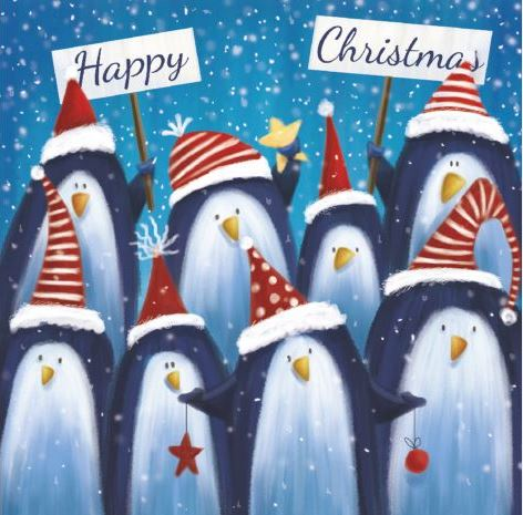 Penguin Greeting Christmas Cards - Pack of 10