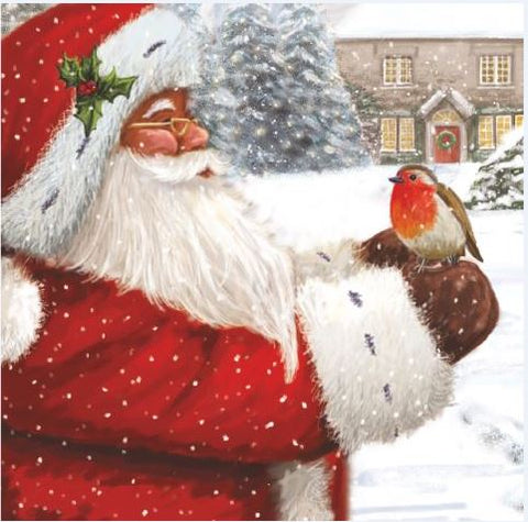 Santa With Friendly Robin Christmas Cards - Pack of 10