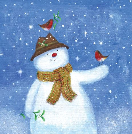 Snowman Robins Christmas Cards - Pack of 10
