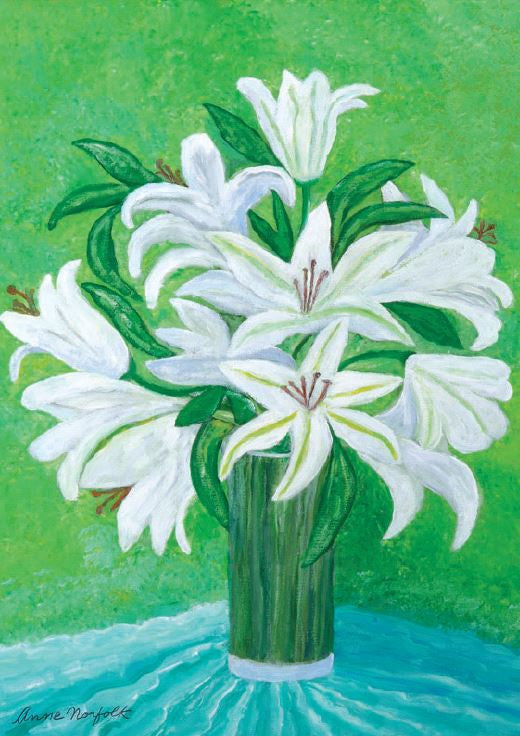 Greeting Cards - The White Lilies by by Anne, Duchess of Norfolk CBE