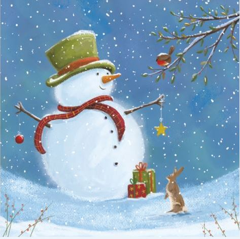 Top Hat Snowman Christmas Cards - Pack of 10