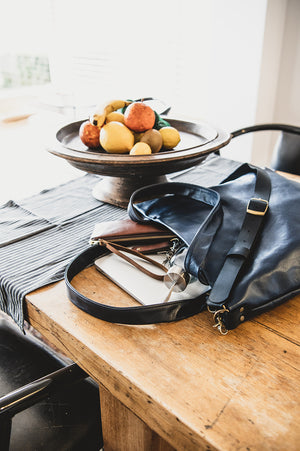 Workbelt Leather Tote and Carryall The Hybrid and Leather Clutch The Roadie handmade in Australia