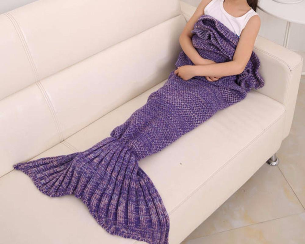 Cute Purple Mermaid Tail Blanket for Kids