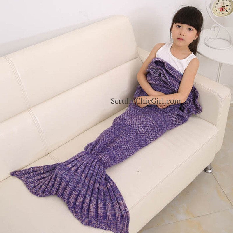 Purple Mermaid Blanket for Kids - Mermaid Tail Blanket for Kids