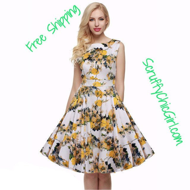 Retro Vintage 1950s 60s Rockabilly Pinup Girl Floral Swing Summer Dresses Vestidos Easter Dress