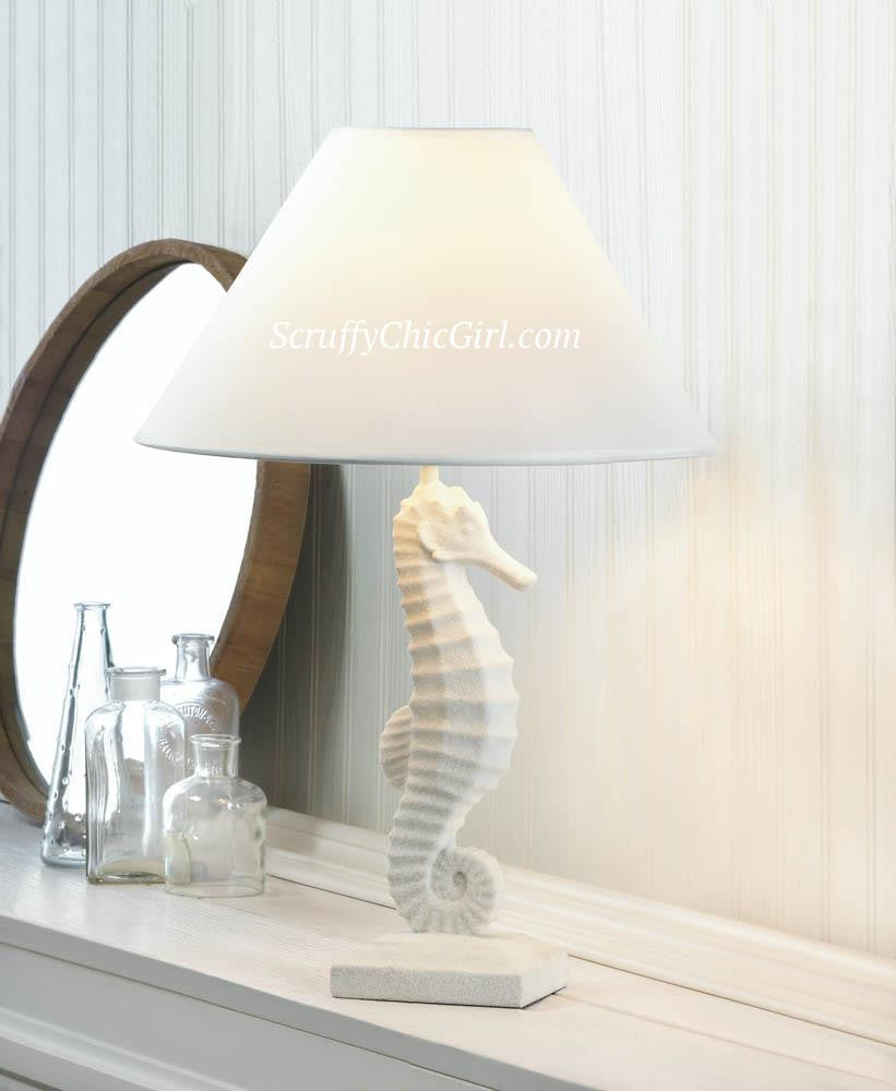 Shabby White Seahorse Table Lamp with Lamp Shade
