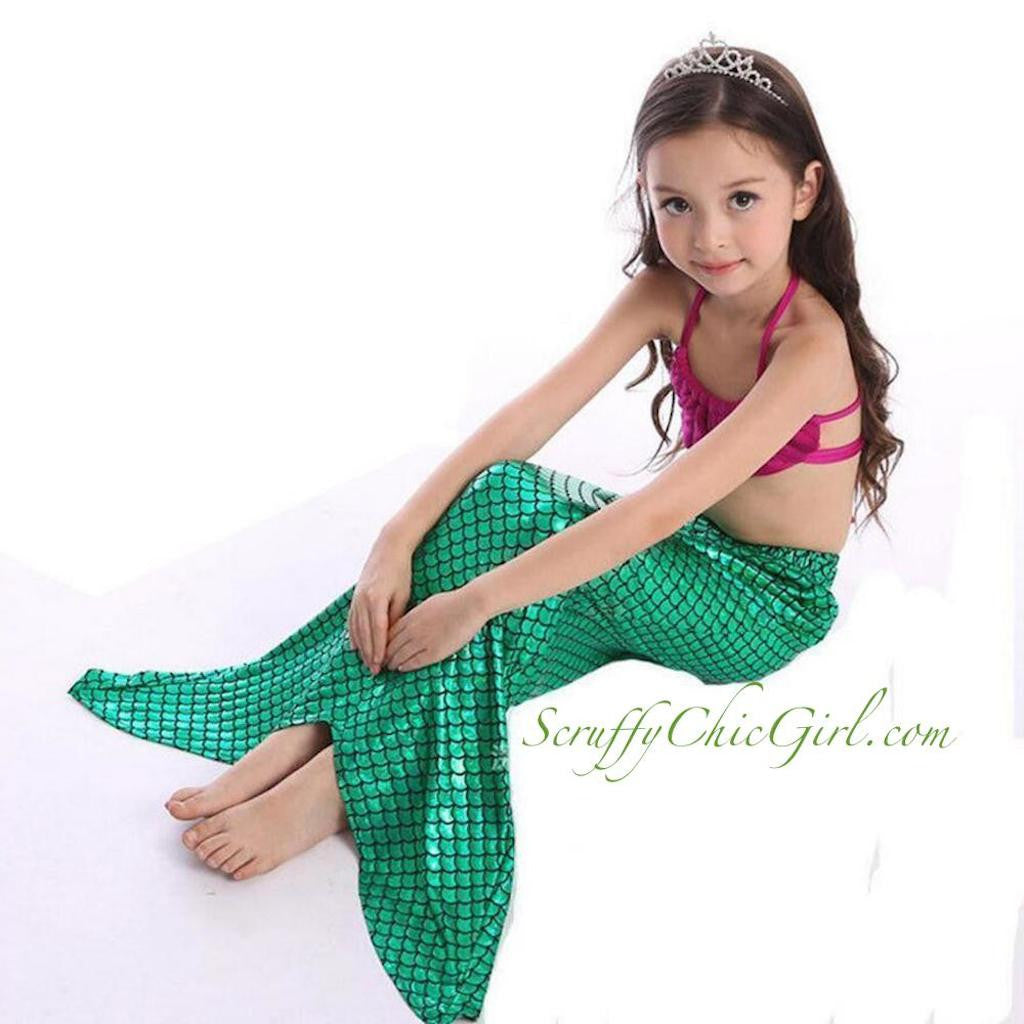 Awesome Little Mermaid Tail Girls Bikini Swimsuit Mermaid ScruffyChicGirl
