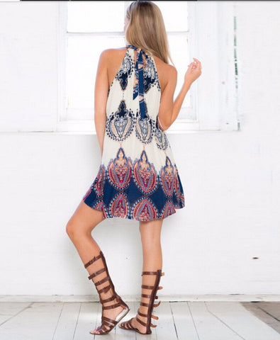 A Sleeveless Bohemian A-Line Halter Dress