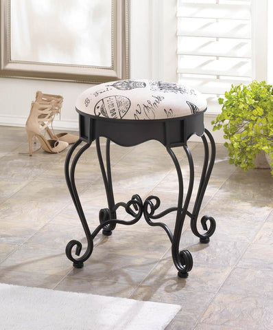Shabby Paris Chic Vanity Stool Chair at www.ScruffyChicGirl.com