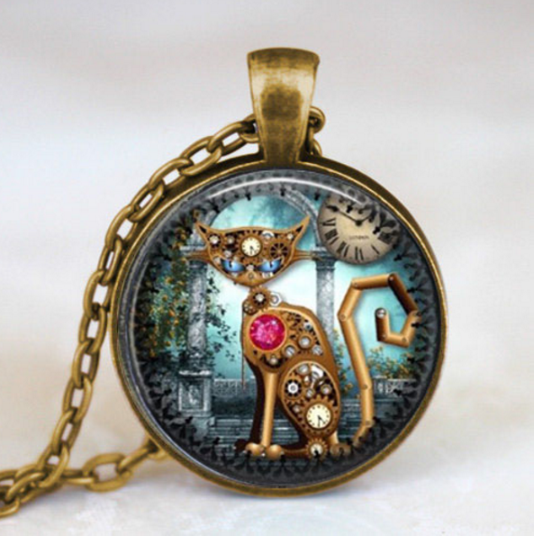 Steampunk Vintage Cat Necklace Glass Pendant Jewelry - Scruffy Chic