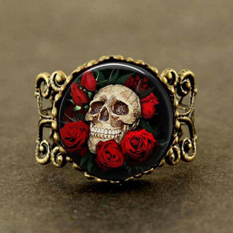 Antique Bronze Rose Skull Vintage Ring - Scruffy Chic