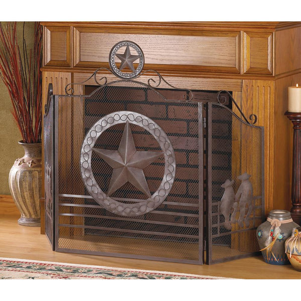 Awesome Big TEXAS STAR Metal Fireplace Screen - Scruffy Chic