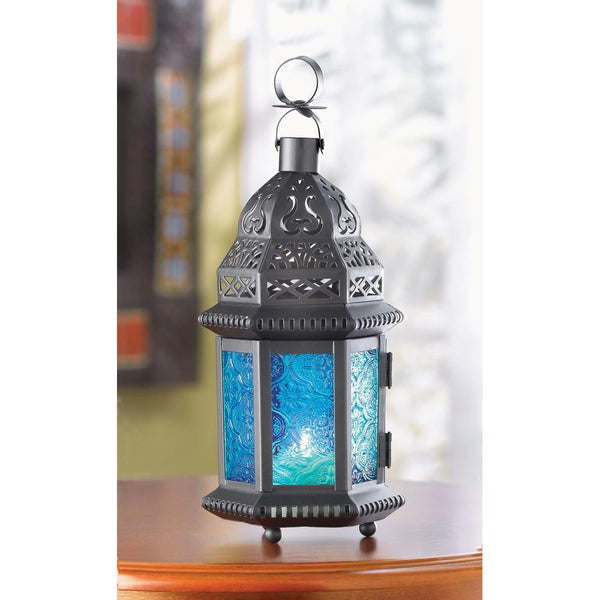 "Blue Stained Glass Punched Metal Moroccan garden Lantern Candle holder 10"" Blue Moroccan Lantern - Scruffy Chic"