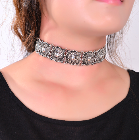 Bohemia Necklace Boho Gypsy Silver Choker Necklace - Scruffy Chic