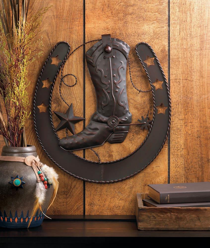 Western Cowboy Boot Horse Shoe Stars Metal Wall Plaque - Scruffy Chic