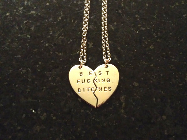 Best Bitches Girlfriends Couple Necklace 2 pc Jewelry Set - Scruffy Chic