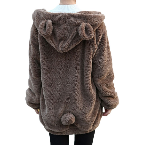 Teddy Bear Ears Hoodie Sweater Jacket Free Shipping Bear Tail - Scruffy Chic