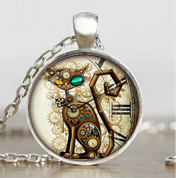 Punk Vintage Cat Necklace Glass Pendant Jewelry - Scruffy Chic