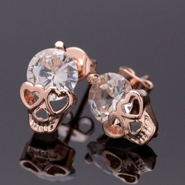 Crystal Skull Earrings Skull Ear Studs - Scruffy Chic