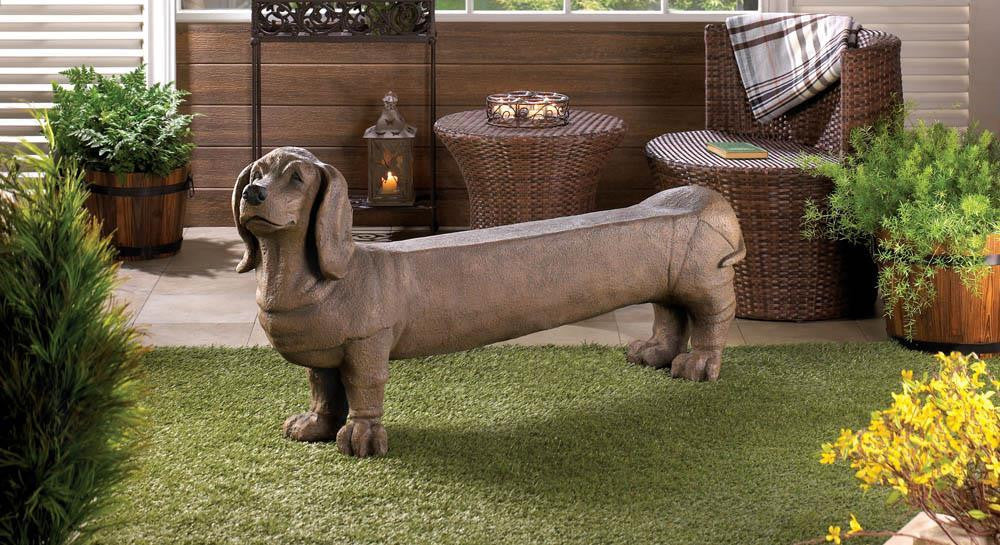 Dog Bench Hot Dog Dachshund Bench Puppy Doggy Home and Garden Bench - Scruffy Chic