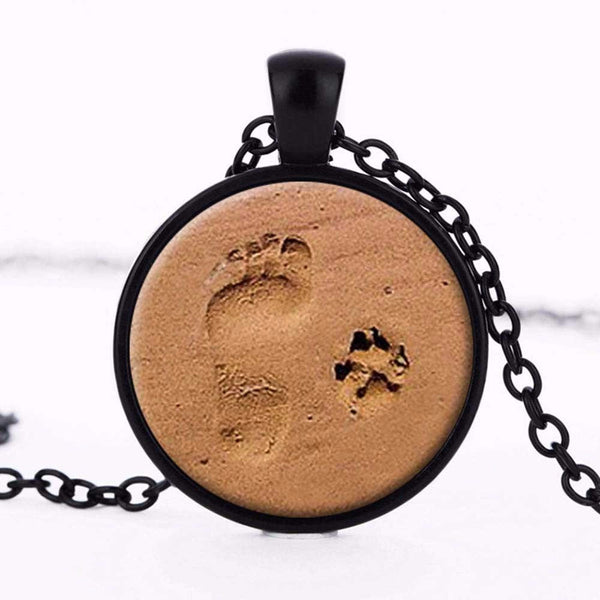 Dog Paw Print Puppy Footprints Necklace Pendant Necklace Jewelry Gift for Dog Lovers - Scruffy Chic