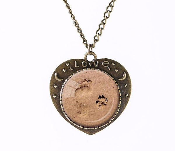 "Dog Lovers Paw Footprints Heart Pendant Necklace 20"" Dog Love Free Shipping - Scruffy Chic"