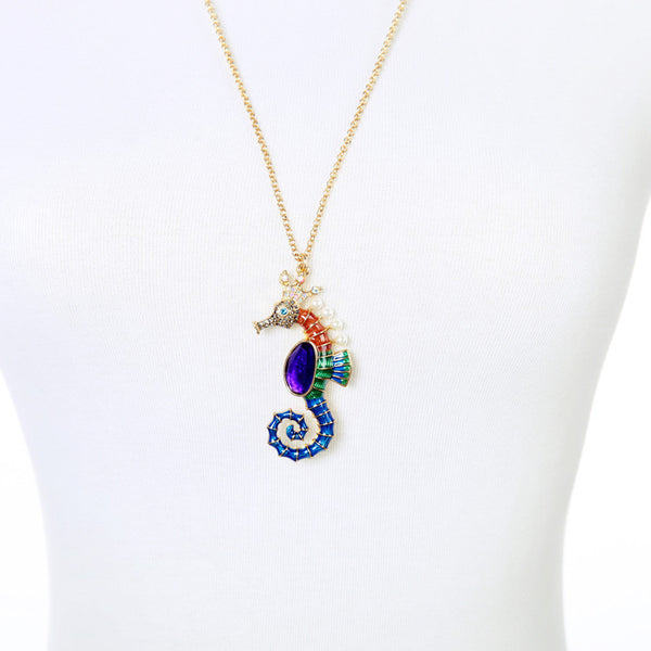 Sparkly Seahorse Crystal Animal Necklace Pendant - Scruffy Chic